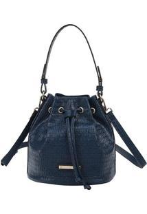 Bolsa Saco Texturizada- Azul Marinho & Dourada- 23X2Fellipe Krein