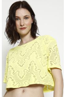 Blusa Cropped Em Renda - Amarela - Lanã§A Perfumelanã§A Perfume
