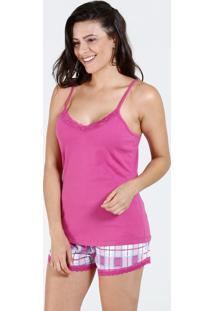Pijama Feminino Short Doll Estampa Xadrez Marisa