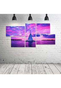 Quadro Decorativo - Pink-Boats-Clouds-Ocean-Sailing-Sea - Composto De 5 Quadros