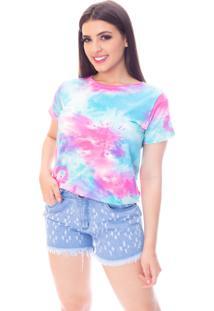 Blusa Moda VãCio Gola Careca Manga Curta Tie Dye - Multicolorido - Feminino - Algodã£O - Dafiti