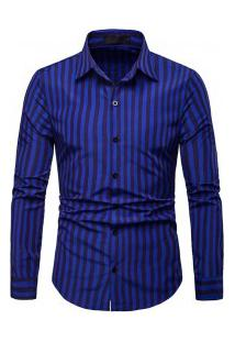Camisa Masculina Listrada Manga Longa - Azul