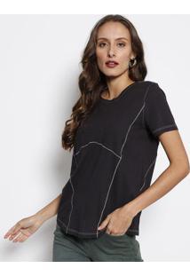 Camiseta Com Pespontos - Preta & Brancaforum