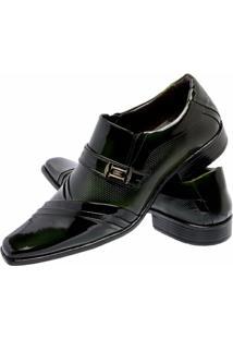 Sapato Social Verniz Gofer Couro - Masculino-Verde