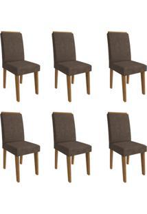 Conjunto Com 6 Cadeiras De Jantar Milena Suede Savana E Cacau