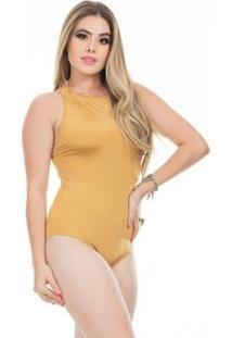 Body Clara Arruda Decote Canoa Feminino - Feminino-Dourado
