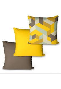 Kit Com 3 Capas Para Almofadas Decorativas Geomã©Trica 45X45Cm - Marrom - Dafiti