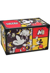 Baú Mickey® Faces- Amarela & Preta- 40X60X40Cm- Mabruk