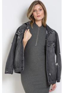 Jaqueta Jeans Preta Oversized Colcci