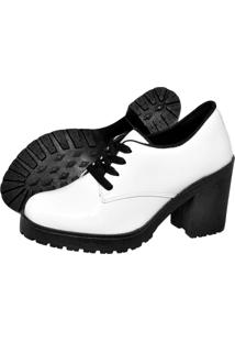 Botinha Oxford Ankle Boot Bota Salto Verniz Branca 5201