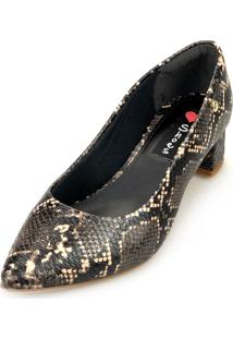 Scarpin Love Shoes Salto Grosso Baixo Bico Fino Lezard Cobra Claro