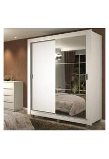 Guarda-Roupa Solteiro Madesa Dallas Plus 2 Portas De Correr Com Espelho 4 Gavetas Com Pés Branco