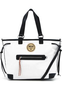 Bolsa Santa Lolla Texturizada Branca/Preta