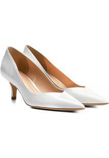 Scarpin Couro Shoestock Salto Médio - Feminino-Branco