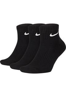 Meia Nike Cano Médio Everyday Cushion Pacote C/ 3 Pares - Masculino-Preto+Branco