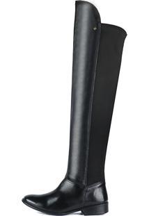Bota Perlatto Over Knee Com Elástico Cano Longo F421 Preta