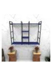 Estante Estilo Industrial Sala Aço Cor Preto 120X30X98Cm (C)X(L)X(A) Cor Mdf Azul Modelo Ind47Azsl
