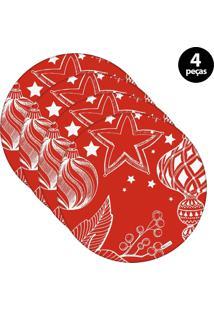 Capa Para Sousplat Mdecore Natal Bolas De Natal Vermelho 4Pçs