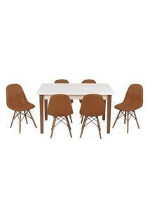 Conjunto Mesa De Jantar Luiza 135Cm Branca Com 6 Cadeiras Botonê - Marrom