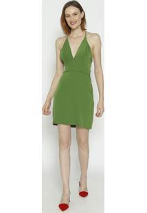 Vestido Com Recortes & Amarraã§Ã£O- Verde- Colccicolcci