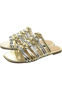 Sandalia Rasteirinha Bico Quadrado Chinelo Tira Brilho Olzzy Rasteira Metalizado Prata/Ouro Light