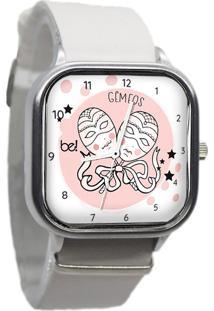 Relógio Bewatchoficial Signo Gêmeos Pulseira De Couro Branco