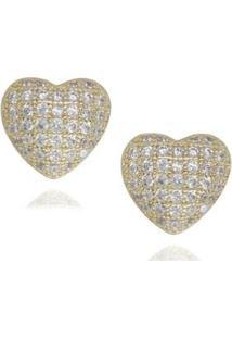 Brinco Semijoia Cravejado Em Zirconia E Folheado Coração - Feminino-Ouro