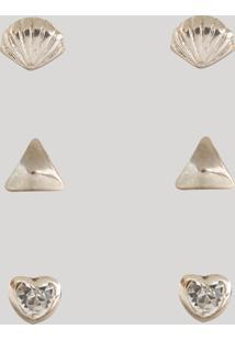 Kit De 3 Brincos Femininos Folheados Com Pedra Dourado
