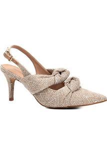 Scarpin Shoestock Salto Baixo Slingback Tecido - Feminino-Bege