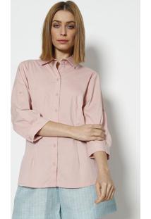 Camisa Com Bordado Frontal- Rosa Claro - ÊNfaseãŠNfase