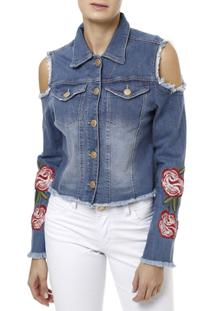 Jaqueta Jeans Feminina Uber - Feminino-Azul