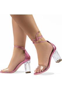 Sandália Salto Alto Metalizado Com Transparência E Salto Transparente