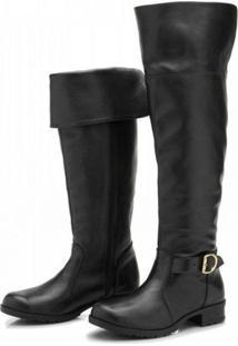 Bota Atron Shoes Over The Knee Couro Macia Conforto Leve Casual Preto - Preto - Feminino - Dafiti