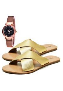 Sandália Elegant Com Relógio Gold Feminina Dubuy 2028La Ouro