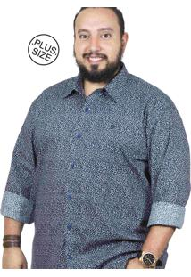 Camisa Plus Size Bigshirts Manga Longa Flor P