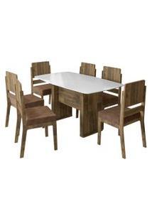 Conjunto De Mesa De Jantar Europa Amadeirado 1,59X0,80 C/ 6 Cadeiras Esmeralda Rv Móveis Branco/Marrom