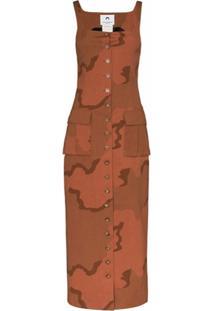Marine Serre Vestido De Alfaiataria Militar Regenerated - Marrom
