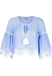Ermanno Scervino Blusa Com Detalhe Bordado - Azul