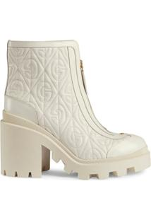 Gucci Ankle Boot G Rhombus Com Salto Médio - Branco