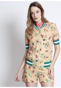 Jaqueta Floral Com Zíper- Salmão & Verde- Linho Finolinho Fino