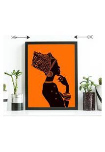 Quadro Decorativo Mulher Africana Preto - 20X30Cm