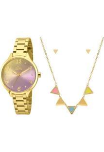 Kit Relógio Allora Feminino Candy Colors Al2036Cg/K4G - Al2036Cg/K4G - Feminino-Dourado