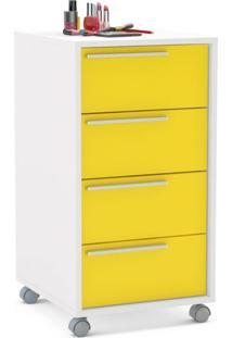 Gaveteiro Maia 4G Branco Ff/ Amarelo Brilho