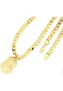 Pingente Face De Cristo + Corrente 8Mm Tudo Jóias Folheado A Ouro 18K Dourada