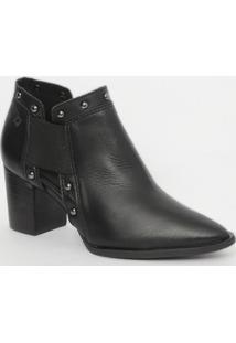 Ankle Boot Em Couro - Preta - Salto: 7Cmcapodarte