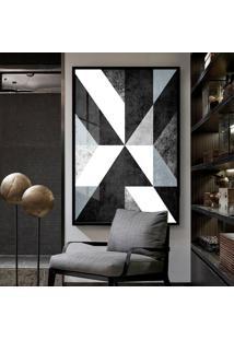 Quadro 150X100Cm Abstrato Apollo Preto Branco Cinza Vidro Cristal E Moldura Preta Decorativo Interiores - Oppen House
