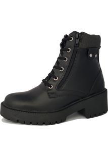 Bota Navit Shoes Tratorada Veshing Com Zíper Preto