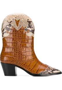 Paris Texas Ankle Boot Com Efeito De Pele De Crocodilo E Recortes - Marrom