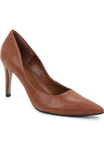 Scarpin Couro Shoestock Salto Alto Graciela Nobuck - Feminino-Marrom