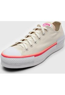 Tênis Flatform Converse Chuck Taylor All Star Lift Off-White/Rosa - Kanui